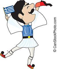 Greek Evzone dancing with Flag - A Greek Evzone dancing with...