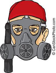 Greek evzone head with gas mask