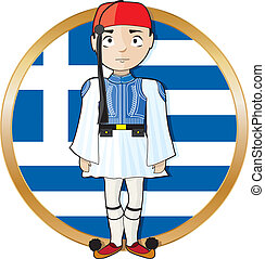 Greek Evzone with Flag - A Greek Evzone standing at...