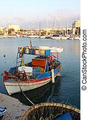 Greek fishing caique with gear - A Greek fishing caique...