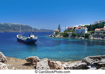 Greek fishing village Fiskardo on Cephalonia island