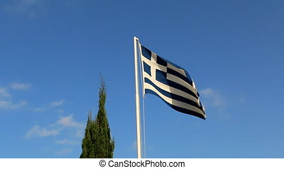 Greek flag and cypress tree
