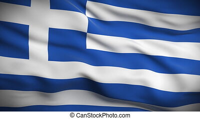 HD 1080. Highly detailed Greek flag ripples in the wind. Extreme detail includes fabric texture. Animation is looped for continuous playback.