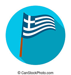 Greek flag icon in flat style isolated on white background. Greece symbol stock rastr illustration.