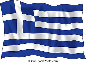 Greek flag - Waving flag of Greece isolated on white