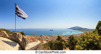 Greek flag panorama - Beautiful panorama looking over the...