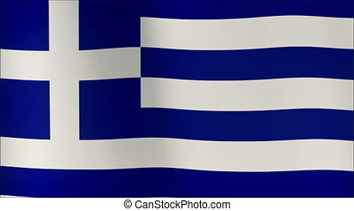 Greek flag waving in the wind. Part of a series. 4K resolution