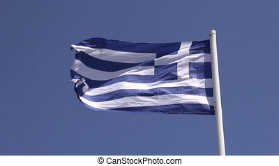Greek flag waving in the wind - Greek flag waving on windy...