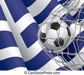 Greek flag with a soccer ball