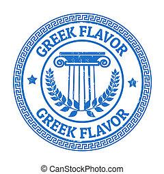 Greek Flavor stamp - Blue grunge rubber stamp with Greek...