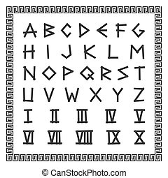 Greek font. Vector english alphabet. Ancient latin letters with numerals.