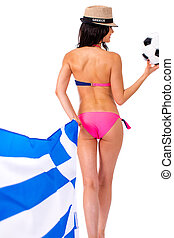 Greek football cheerleaders with a ball and a flag in their hands, isolated on white background