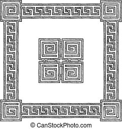 greek frame with meander