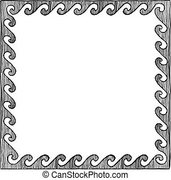 greek frame with wave