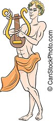 greek god apollo cartoon illustration - Cartoon Illustration...