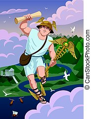 Hermes - Greek god Hermes carrying message to Zeus.