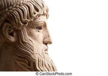Ancient Greek god Poseidon - god of the sea, horses, and earthquakes. Plenty of room for copy to the right.