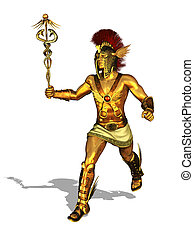 Greek God Mercury Running - 3D render depicting the Greek...