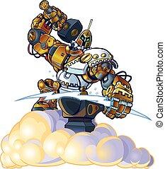 Greek God Robot Forging Lighting - Vector cartoon clip art...