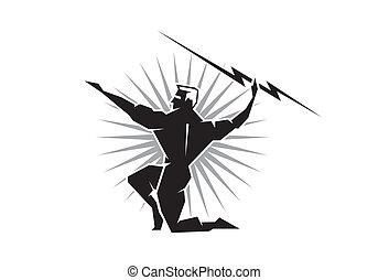 Greek God Zeus - Illustration of the Greek God Zeus throwing...
