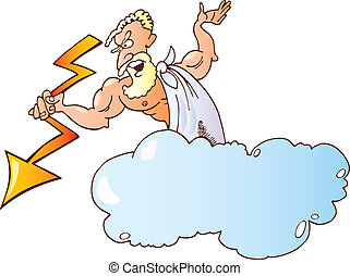 Greek God Zeus - Cartoon illustration of greek god zeus with...