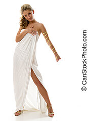 Greek Goddess. Portrait isolated over white background. Look...