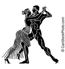 Greek Gods Dance - Silhouette of Greek Gods Dance