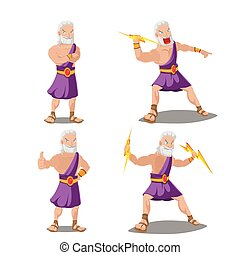 Greek Gods Thunder Cartoon Set Vector