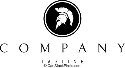 Greek Helmet Abstract Black vector logo 2 design