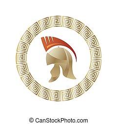 Greek Helmet Icon. Circle Gradient Frame