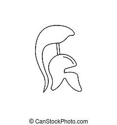 Greek helmet icon, outline style