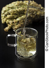 greek herb tea in a glass
