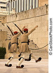Greek honor guard - Ceremonial changing the guard at the...