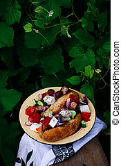 Greek hot dogs in the garden..style rustic
