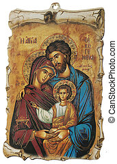 Greek Icon with Holy Family, isolated over white