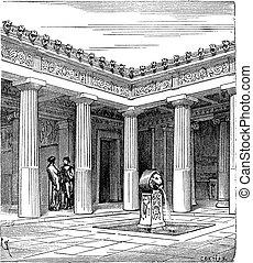Greek Impluvium, vintage engraving