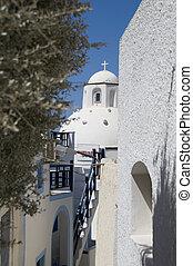 greek island church alley view santorini