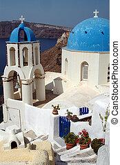 greek island church over aegean sea santorini greece
