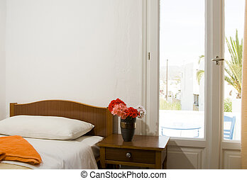 Greek Island guest house room interior - typical pension...