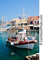 Greek island harbor village, Fiscardo, Kefalonia, Greece
