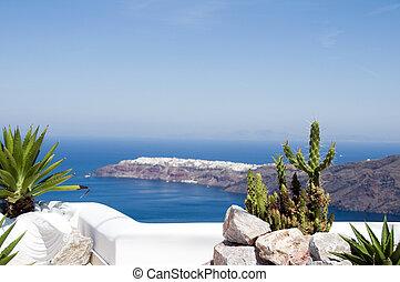 greek island mediterranean view santorini
