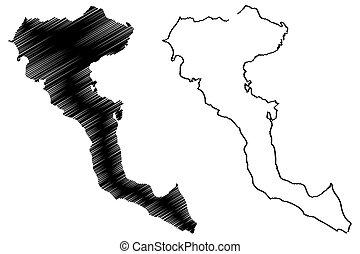 Greek Island of Corfu map vector