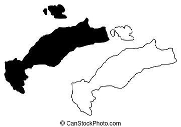 Greek Island of Kos map vector