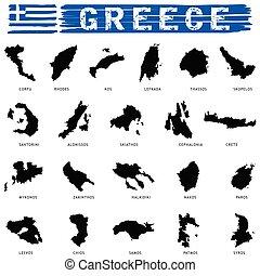 greek island paradise set in black color illustration