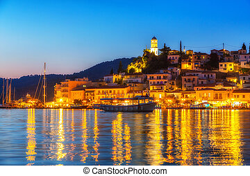 Greek island Poros at night
