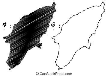 Greek island Rhodes map