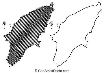 Greek island Rhodes map vector