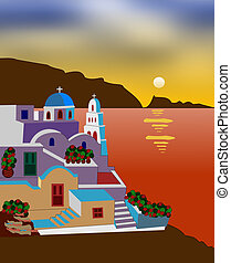 Greek island - Illustration of a fictional Greek island
