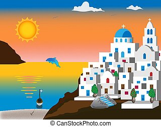 Greek island - Illustration of a Greek island