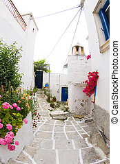 greek island street scene and classic architecture